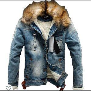 0857 Men's Denim Fleece Jacket Casual Faux Fur